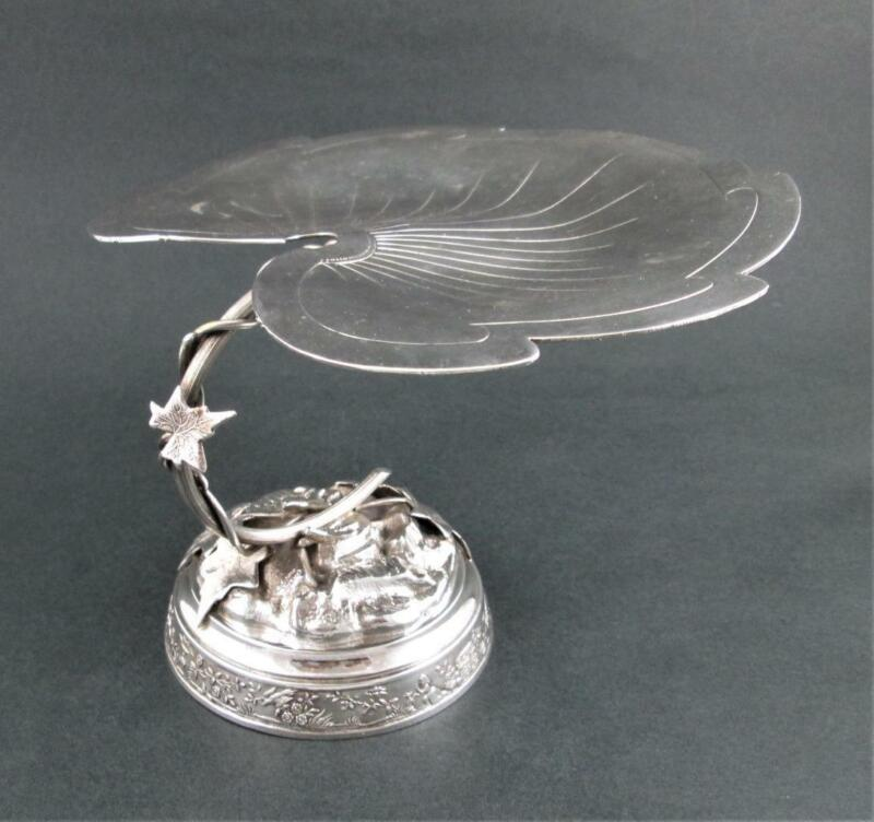 Antique CALLING CARD Receiver TRAY - Pedestal LEAF - MERIDEN Quadruple Silver