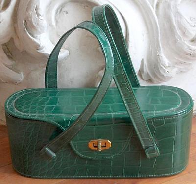 Vintage 1940s-1950s Green Leather Box Purse / Handbag