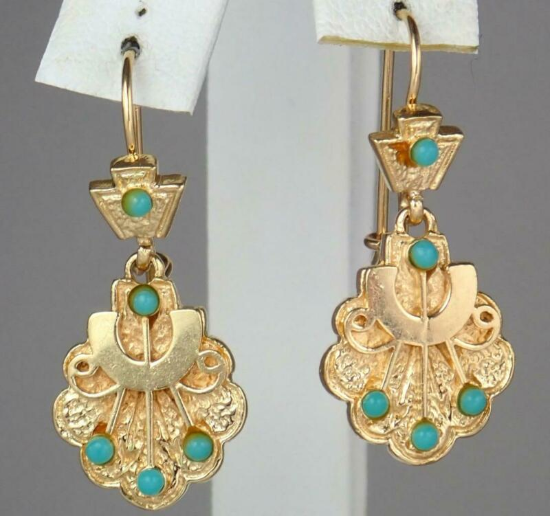 Gorgeous Antique Victorian Etruscan 14K Gold Turquoise Floral Dangle Earrings
