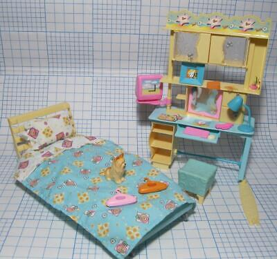 Barbie Doll Dream Dollhouse Home PLAY AROUND FURNITURE Bedroom Play Set Bed Desk