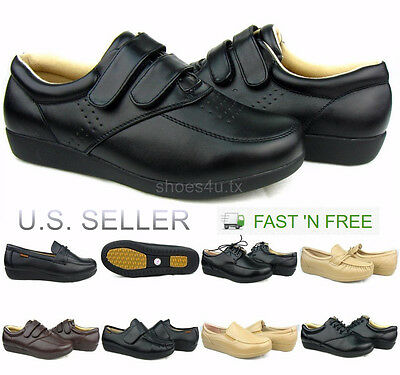 Women's Work Shoes Slip Resistant Non-Slip Service Loafer Lace Up Comfort Safety