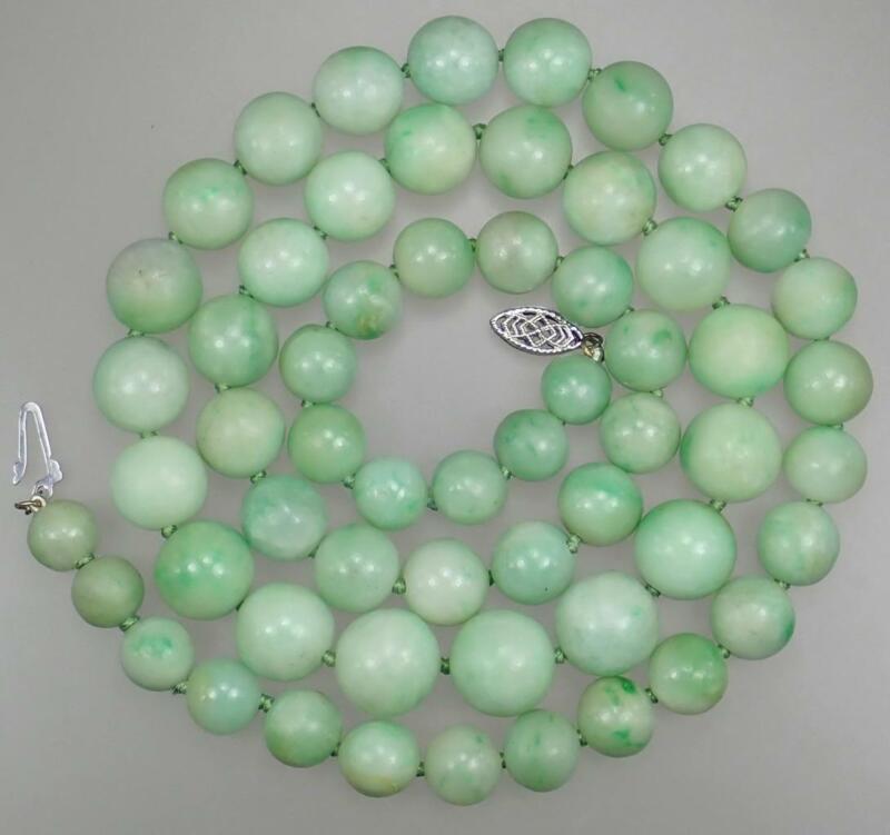 Pretty Antique Art Deco 14K Gold GIA Certified Jadeite Jade Bead Necklace 23