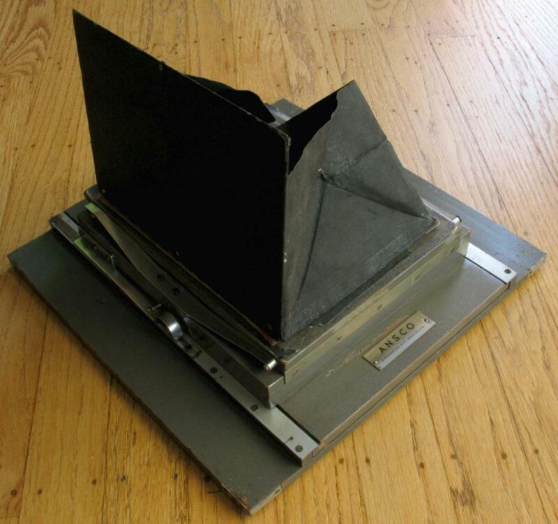 Ansco Grey Wooden 8X10 to 5x7 View Camera Sliding Back w/ Ground Glass + Hood