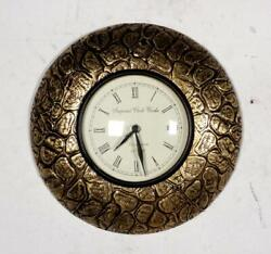 Vintage Home Decor Antique Look Brass Engraving Work Wall Clock Ethnic India 286