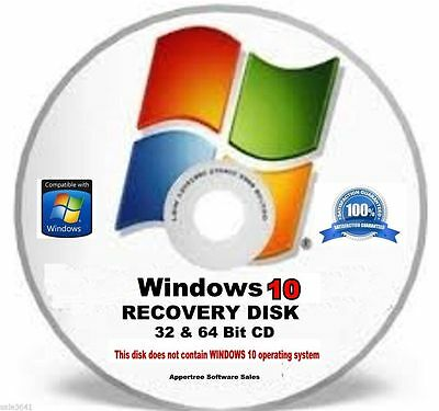 Window 10 ,64 & 32-Bit Disc -Restore- Repair & Recover Installation Boot CD