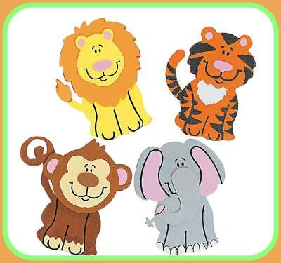 12---FOAM ZOO ANIMAL MAGNET CRAFT KIT ~~Elephant~~Tiger~~Monkey~~Lion~~NEW - Zoo Animal Crafts
