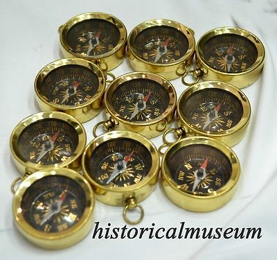 Brass compass keychain Compass Keyring Marine Nautical Key ring Lot of 10