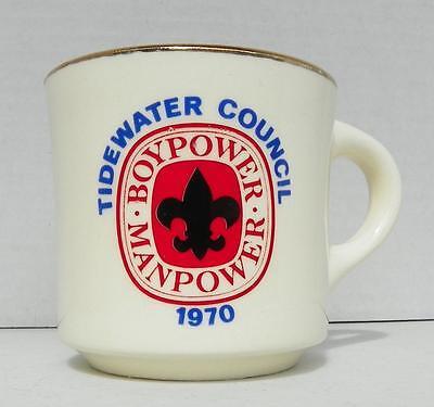 BSA Tidewater Council 1970 Boypower Manpower Coffee Mug Gold Trim VGUC