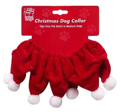 Weihnachten Klein Mittelgroßer Hund Santa Kragen Outfit Kostüm Pom Tier