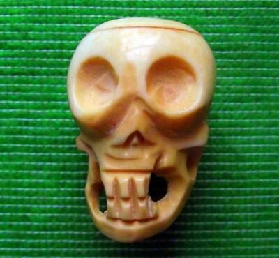 Japanese Amulet Netsuke Bovine Bone Occult Wichcraft Wiki Goth LARGE Skull 42mm