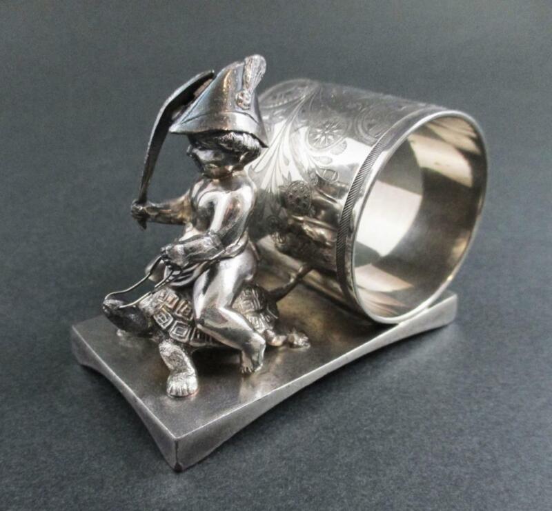 Boy SOLDIER on TURTLE - antique Figural Napkin Ring - MIDDLETOWN #71 Quad Silver