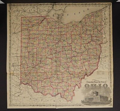 Ohio, State Map, 1875 Hand Color Z5#24