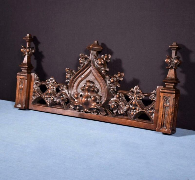 "*25"" French Antique Neo Gothic Pediment/Architectural Crown in Walnut Wood Crest"