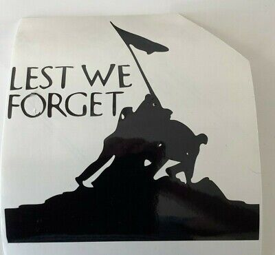 Lest we forget,car decal/ sticker for windows,bumpers ,panels or laptops