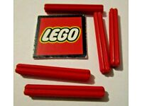 10x 4142865 Brick 32062 LEGO NEW Red Axle 2 with Grooves