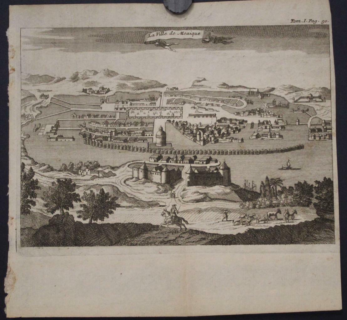 MEXICO CIY TENOCHTITLAN MEXICO 1730ca ANONYMOUS UNUSUAL ANTIQUE CITY VIEW
