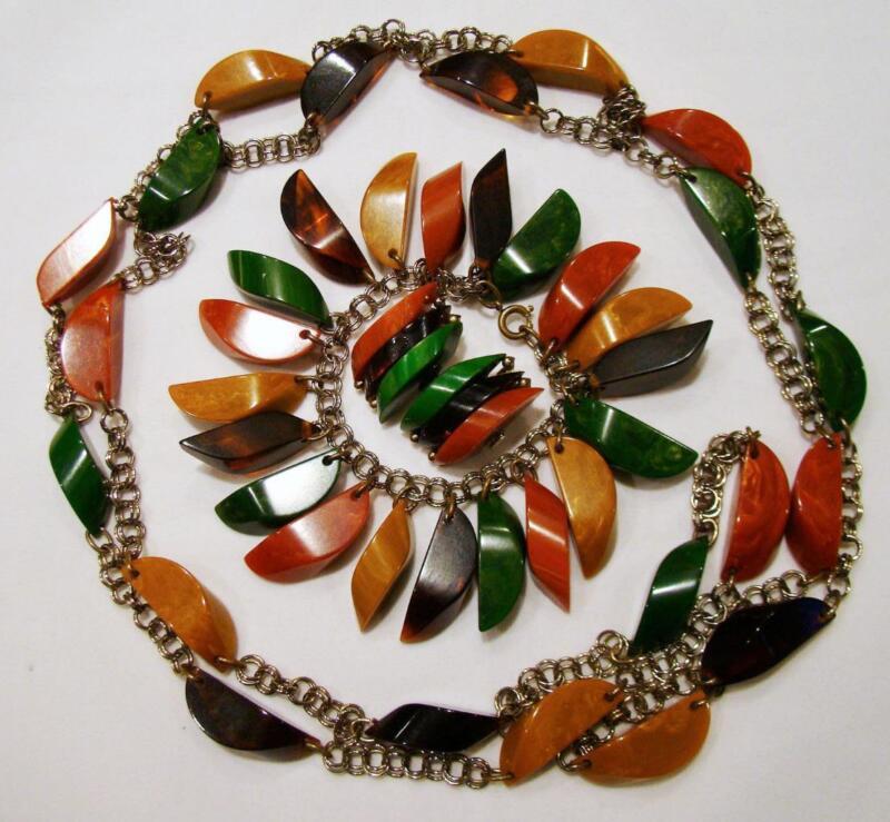 "Antique Art Deco Bakelite Slices 61"" Charm Necklace Bracelet Earrings Set 207g"
