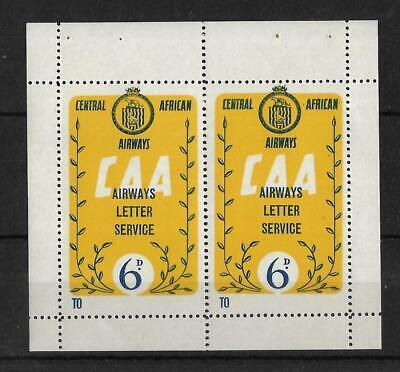 RHODESIA & NYASALAND, CENTRAL AFRICAN AIRWAYS, PAIR OF 6d LABELS, MNH,