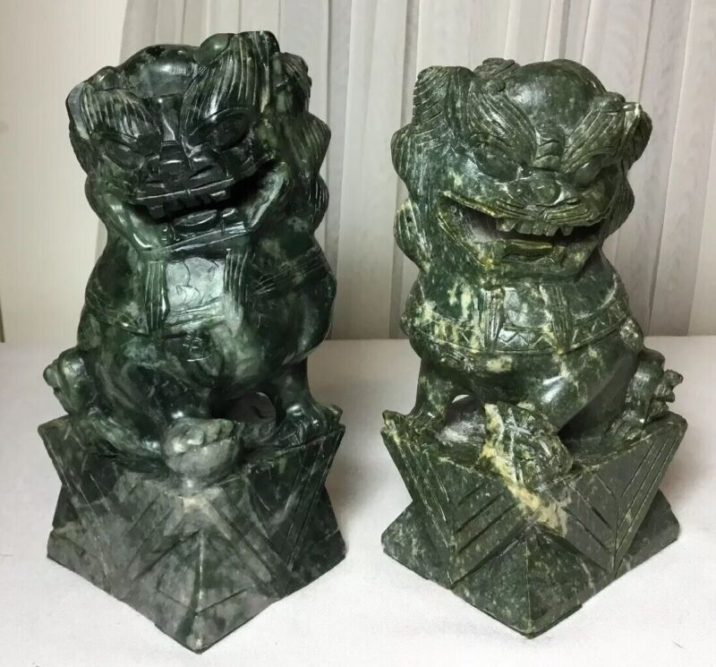 "7"" Vintage Pair Of Chinese Hand Carved Green Jade Foo Dog Lion Statues"