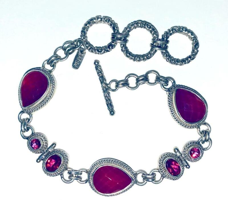 "Ornate Sarda Sterling Silver Fuchsia Quartz Bracelet 8 1/2"""