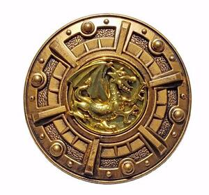 Warrior Shield Gold Dragon Gladiator Roman Greek Medieval Costume Plastic BW215