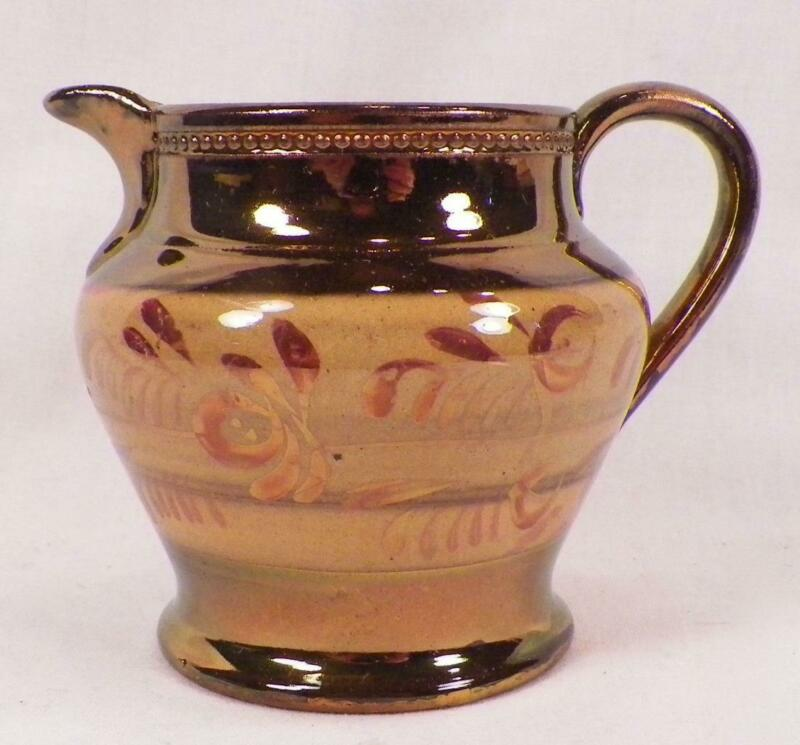 Antique Copper Luster Creamer Gold Band Sgraffito Flowers Beading Nice Cond