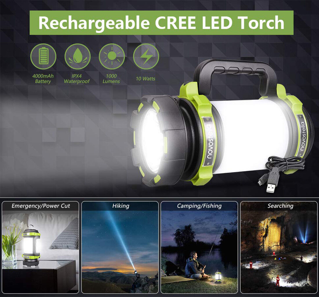 for Hiking Fishing Emergency Novostella Rechargeable CREE LED Spotlight Waterproof LED Searchlight with USB Cable Multi Function Outdoor Camping Lantern Flashlight Power Bank