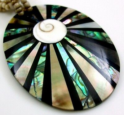 Abalone Shell Mother of Pearl Shiva Eye Pendant Beads Necklace Jewelry CA246 for sale  Shipping to Canada