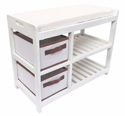 Assembled White Cabinet Padded Seat Cushion Hallway Kids Bedroom Bench Shoe Rack