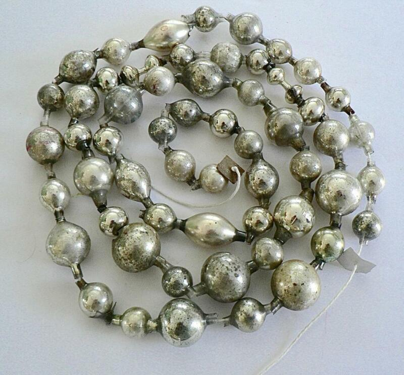 "ANTIQUE GERMANY 74"" VINTAGE SILVER CHRISTMAS BIG BEAD BALL GARLAND"