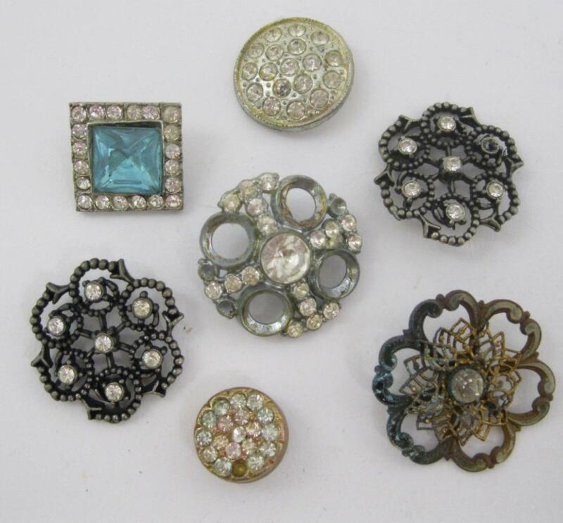 Lot of 7 Vintage Metal / Rhinestone Button up to 1 1/4""