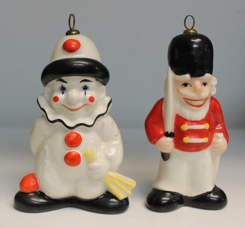 Lot of 2 Goebel Ornaments 1983 Happy Christmas Clown & 1981 Nutcracker Soldier
