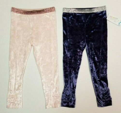 365 Kids Garanimals Girls Velour Pant 2 PACK Crushed Velvet Pink & Blue  5 6 7 8