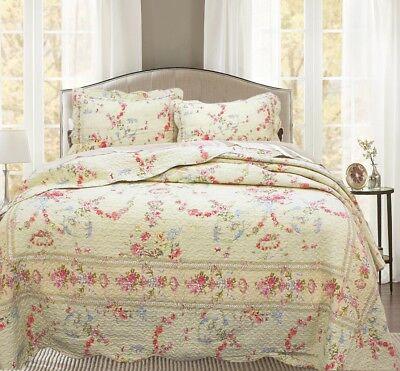 Rose Romance 100% Cotton Quilt Set, Bedspread, Coverlet