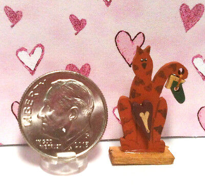 Dollhouse Miniature Wood Figurine - Country Cat Holding Birdhouse