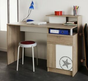 schreibtisch mit aufsatz eiche sonoma wei taylon. Black Bedroom Furniture Sets. Home Design Ideas