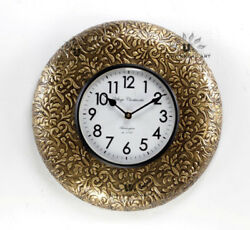 Vintage Home Decor Antique Look Brass Engraving Work Wall Clock Ethnic India 124