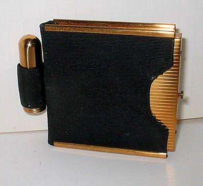 Beautiful Vintage Brass Compact Bullet Lipstick Set in Black Case Ciner ?