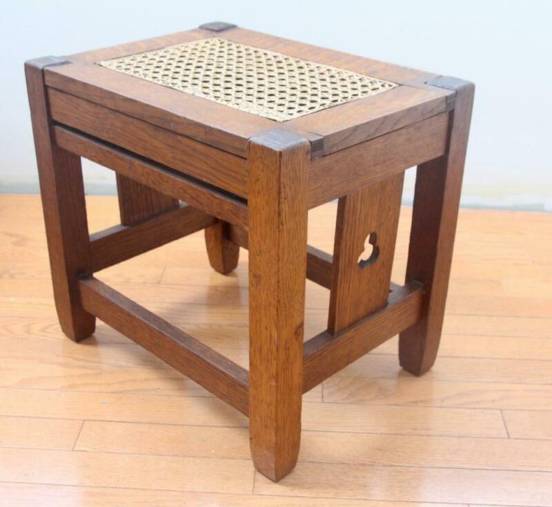 Antique Arts & Crafts Bungalow Mission Oak Foot Stool Ottoman Hand Cane Seat