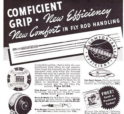 Vintage Fishing Tackle ads 1941 South Bend CoxeTrue Temper Beans Fly Rod more!