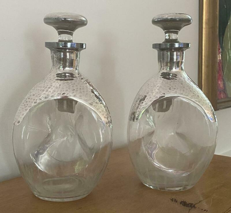 2 Antique Hammered Silver Overlay Etched Glass Decanters Pinch Bottles Stoppers