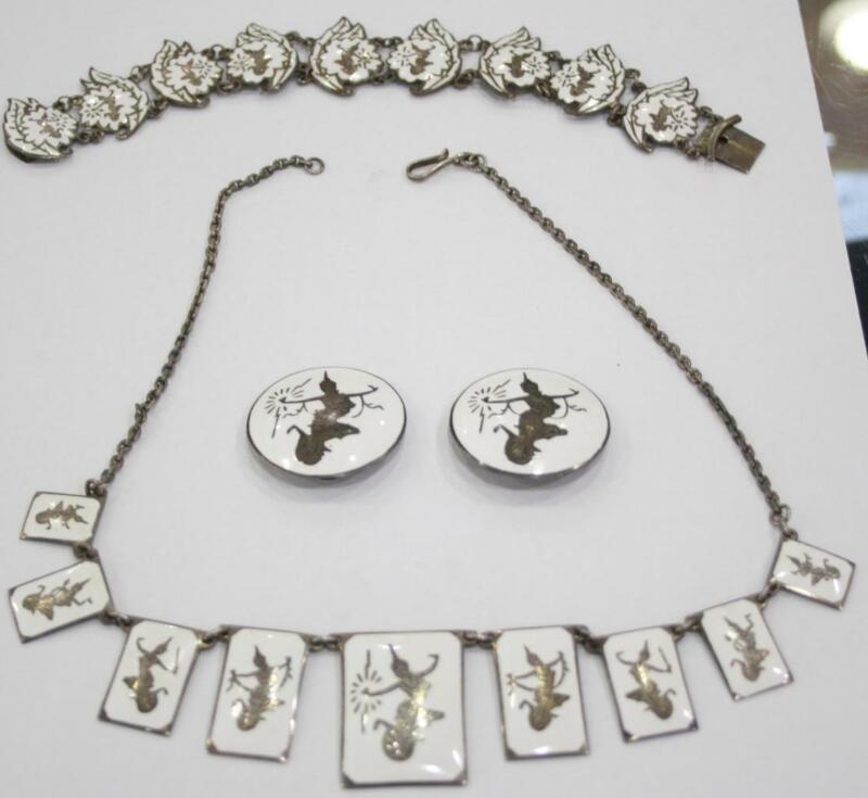 Vintage Sterling/Enamel Siam Necklace/Bracelet/Earring Set