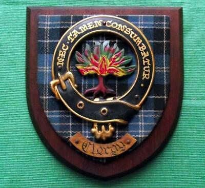 Vintage Nice Scottish Carved Oak Clan Church CLERGY Tartan Plaque Crest Shield