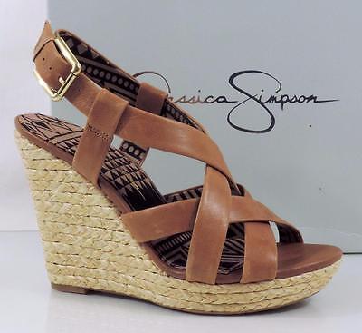 Jessica Simpson Espadrille (Jessica Simpson Catalina Platform Wedge Sandals Espadrille Leather Tan Size 10)