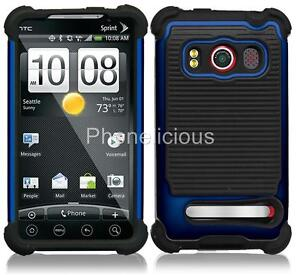 BLUE TRIPLE LAYER HYBRID IMPACT HARD CASE PHONE COVER SKIN HTC EVO 4G