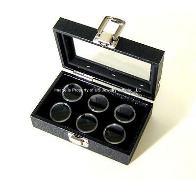 1 Glass Top Lid Black 6 Jar Box Case Display Gems Body Jewelry Gold Nugget