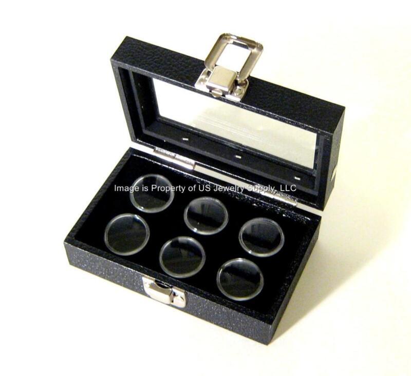 1 Glass Top Lid Black 6 Jar Box Case Display Gems Body Jewelry Gold Nugget