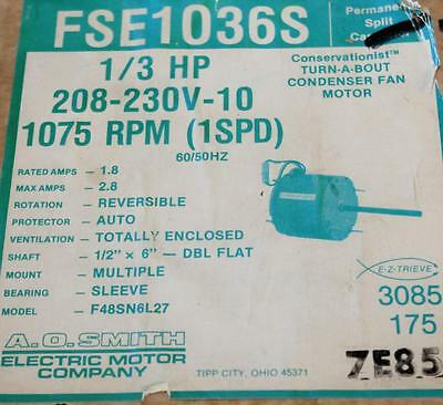 Ao Smith Motor Fse1036s 13 Hp 1075 Rpm 208-230 Volt Reversible  Tn-110