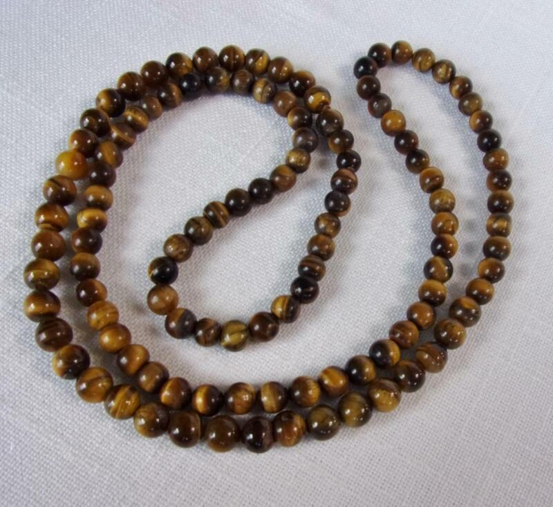 """Beautiful Natural Tiger Eye Bead Over The Head Necklace  Sz. 36"""" Bead Sz. 5/16"""""""