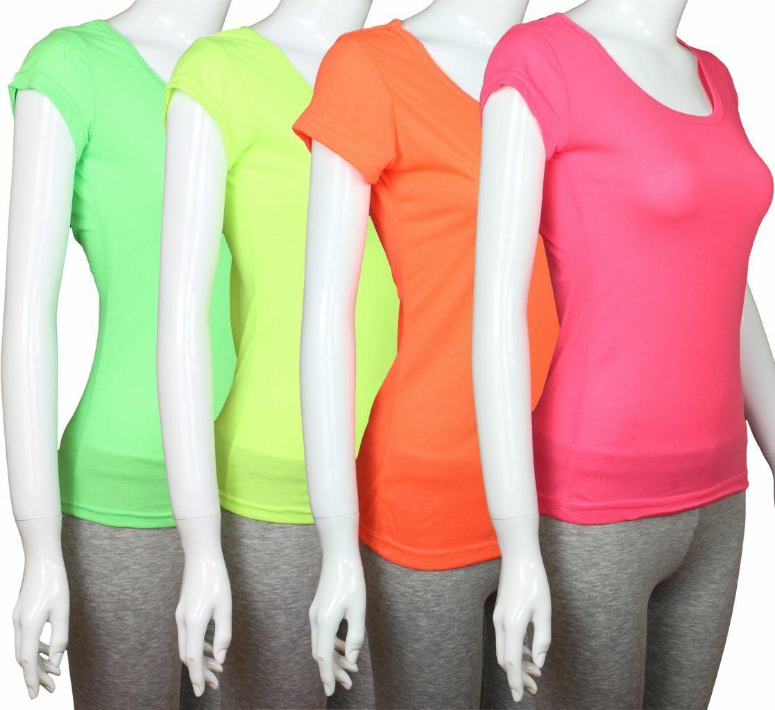 Neon Damen Basic Tee Damen Top Oberteil T-Shirt Neongrün gelb orange pink